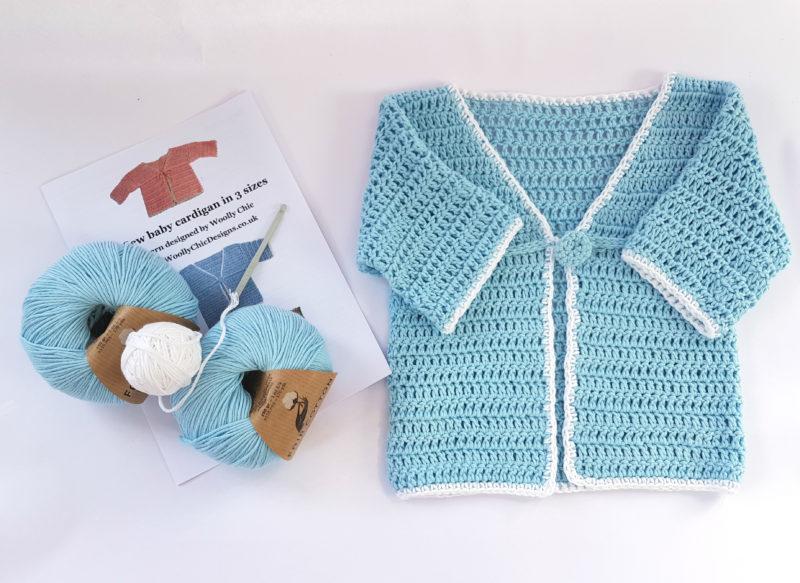 Organic Cotton Baby Cardigan kit blue
