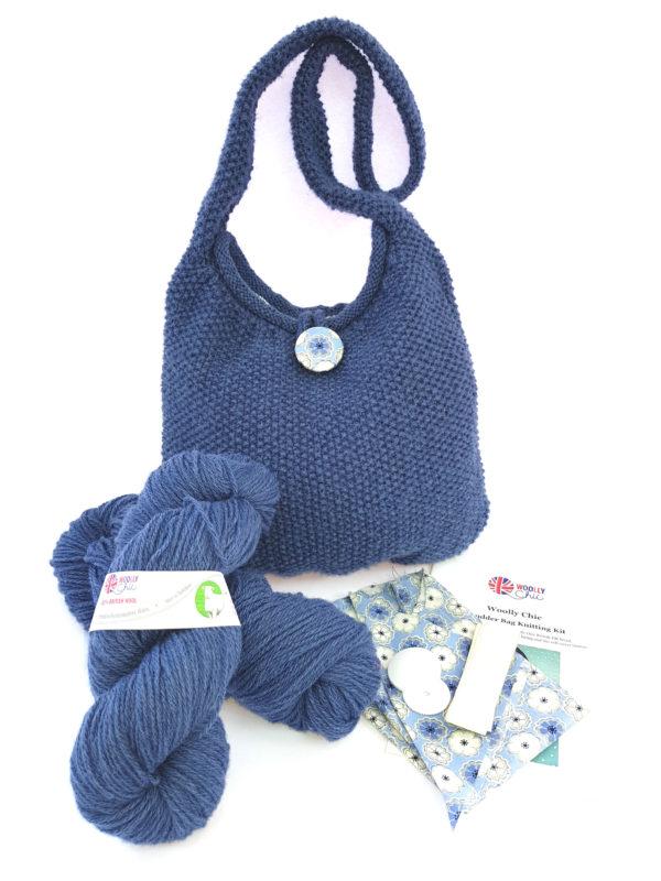 Denim Blue Shoulder Bag Knitting Kit
