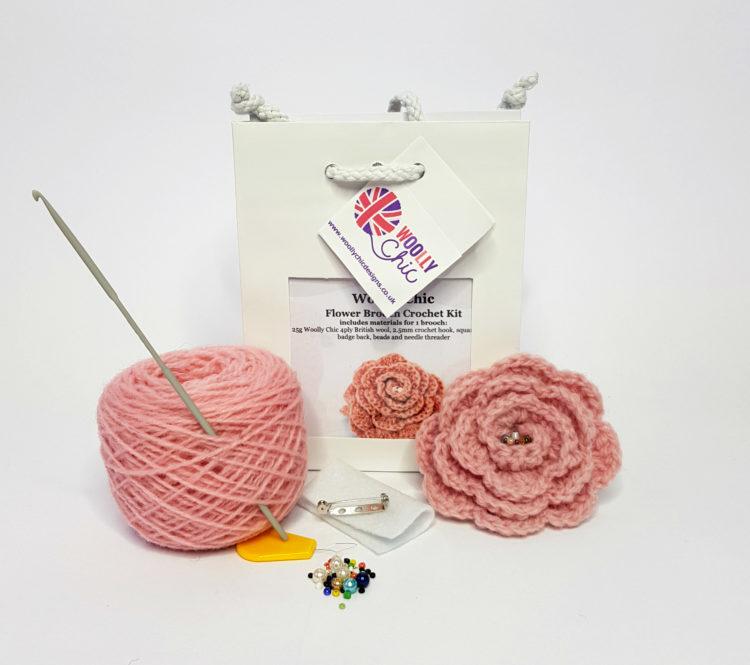 Crochet-Flower-Brooch-Kit-Pink