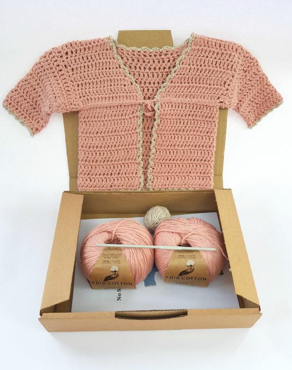 Organic cotton baby cardigan crochet kit